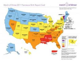 Preterm birth rate shows three year improvement in most states