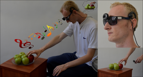 Device converting images into music helps individuals without vision reach for objects in space