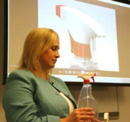 Prototype for safer, child-resistant spray bottle