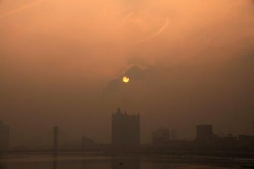 This picture taken on January 29, 2013 highlights the heavy smog in Jilin, northeast China's Jilin province