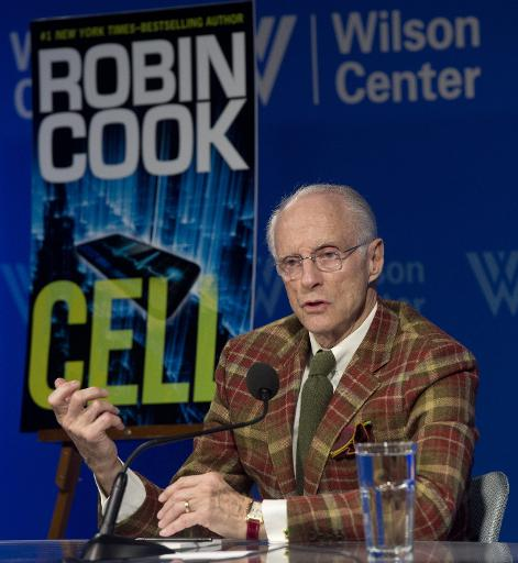 "Author Robin Cook discusses his new book ""Cell"" at the Woodrow Wilson Center in Washington, DC on February 19, 2014"