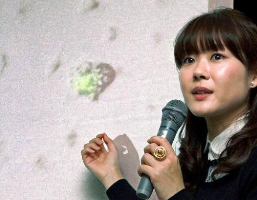 Haruko Obokata, Riken institute's lead researcher, at a press conference at the Riken center in Kobe in Hyogo prefecture on Janu
