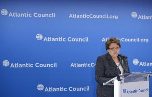 Latvia's Prime Minister Laimdota Straujuma speaks at a conference at the Atlantic Council on April 29, 2014 in Washington, DC